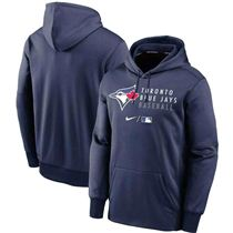 Men's Toronto Blue Jays Nike Navy Authentic Collection Baseball Logo Stack Performance Pullover - Hoodie