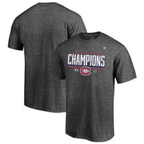 Men's Fanatics Branded Heathered Charcoal Montreal Canadiens 2021 Stanley Cup Semifinal Champions - Locker Room T-Shirt