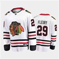 Chicago Blackhawks #29 Marc-Andre Fleury Away White 2021 Player Jersey