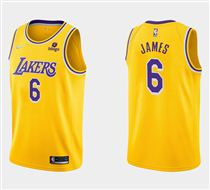 Men's Los Angeles Lakers #6 LeBron James 75th Anniversary Diamond Gold 2021 Stitched Basketball Jersey