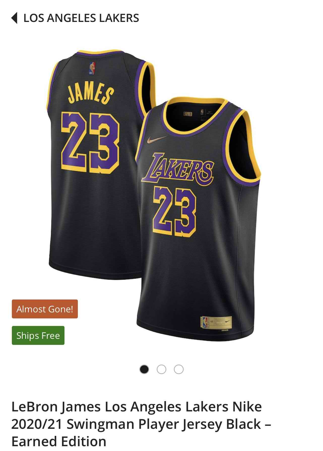 Los Angeles Lakers 23 Lebron James nike 2020-21 Swing player black Earned Edition Jersey